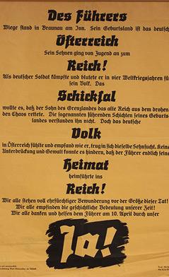 """Plakat: """"Ja"""" zur """"Wiedervereinigung"""" Österreichs mit NS-Deutschland"""