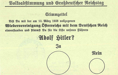 "Stimmzettel für die ""Volksabstimmung"" am 10. April 1938"