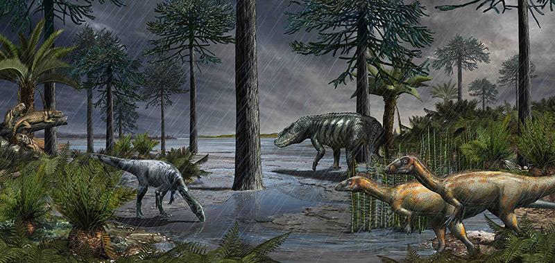 Illustration: Mehrere Dinosaurierarten zur Zeit des Karnium, spätes Trias