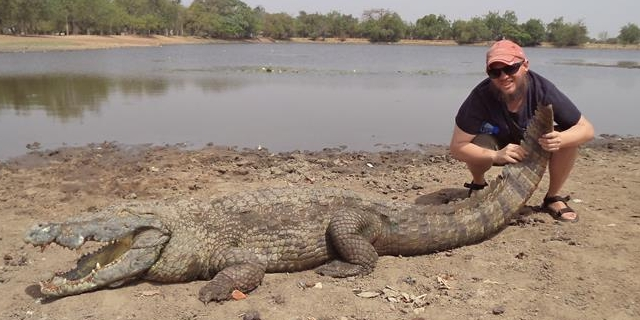 Tony with a crocodile in Ghana