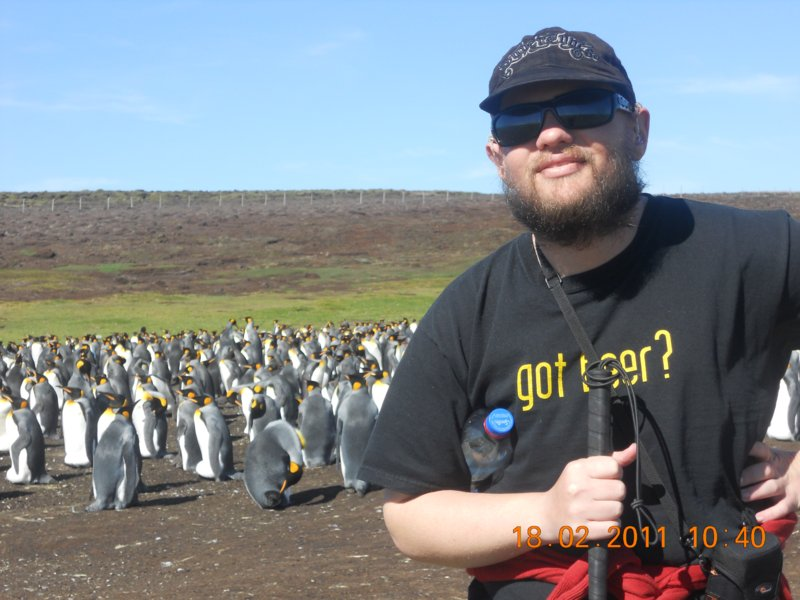Tony with King Penguins in Falkland Islands