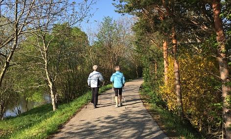 zwei Frauen gehen mit Trekkingsstöcken