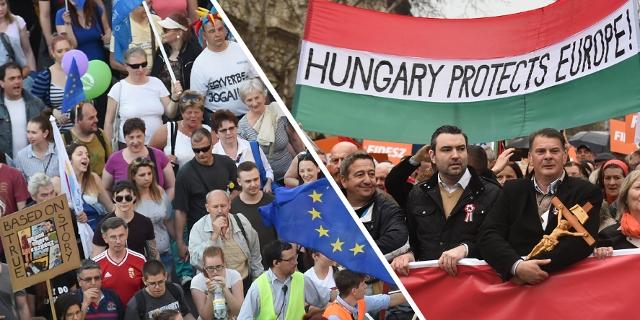 Bilder zweier Demos: Einmal gegen, einmal für die Politik Viktor Orbáns