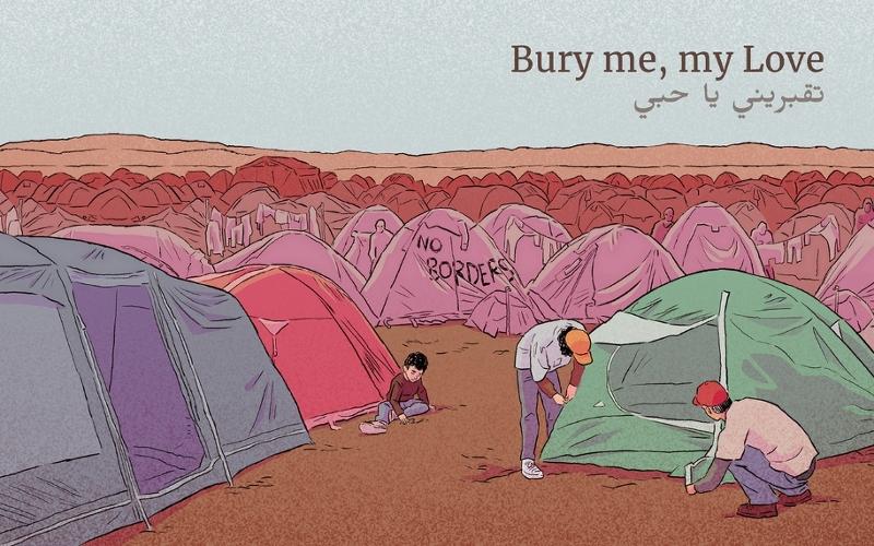 """Gezeichnete Zelte aus """"Bury me, my Love"""""""