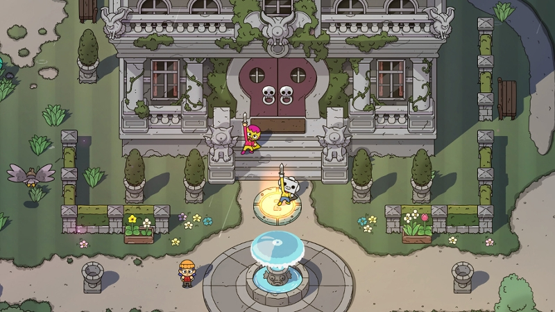 "Screenshot aus ""The Swords of Ditto"": Abhängen vor dem Rathaus"