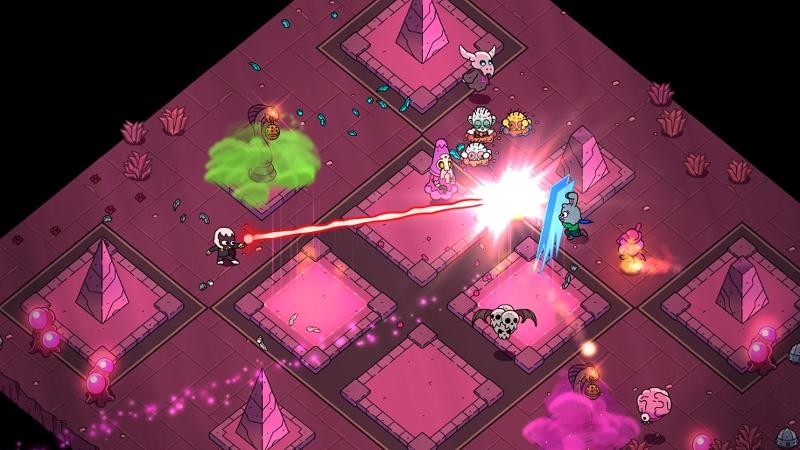 """Screenshot aus """"The Swords of Ditto"""": in einem pinkfarbenen Verlies"""