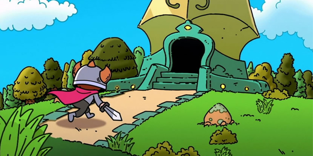 """Artwork zu """"The Swords of Ditto"""": eine Figur läuft in ein Schloss"""