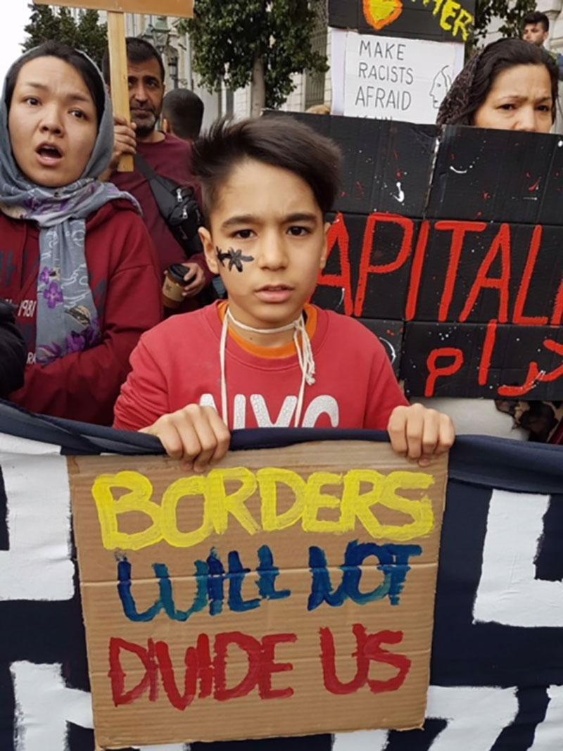 Demonstration von Refugees in Athen