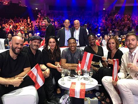 die österreichische Delegation beim ESC 2018
