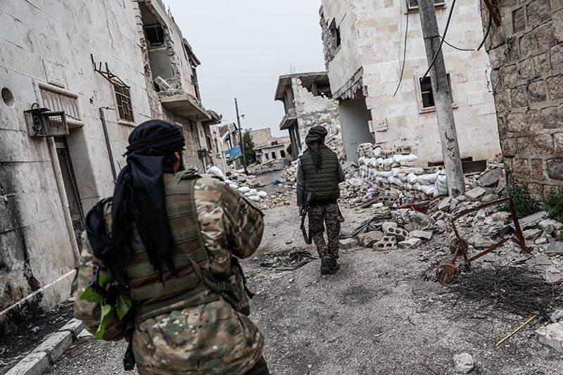 Zerstörte Häuser: Straßenszene in Aleppo