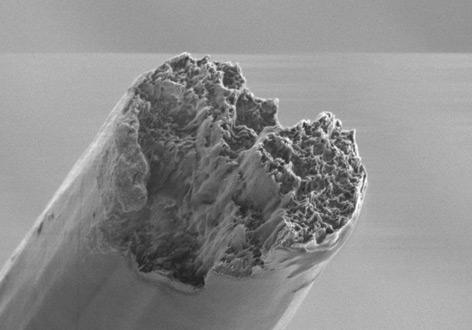 Rasterelektronenmikroskop-Aufnahme einer fertigen Faser