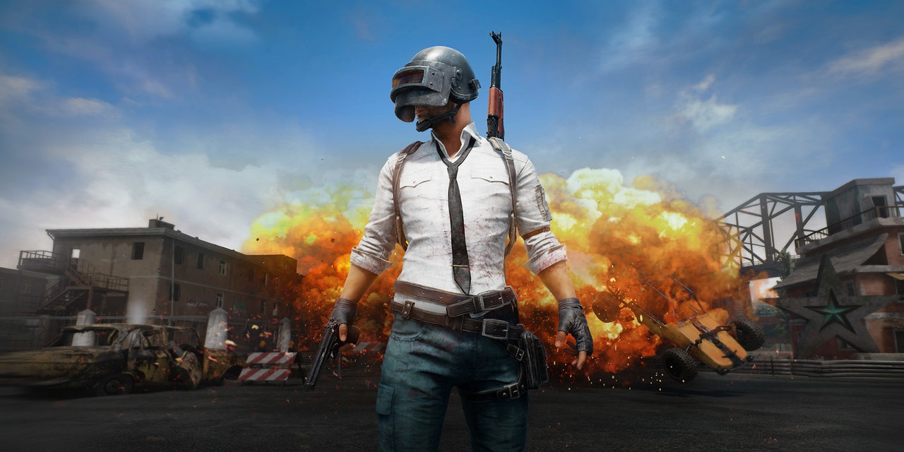 """Logo von """"PlayerUnknown's Battlegrounds"""": eine Figur mit weißem Hemd, Krawatte und einem Stahlhelm."""