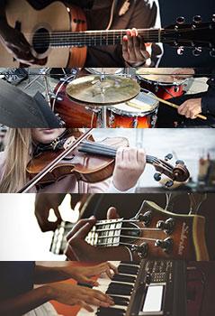 Jugendliche spielen Instrumente