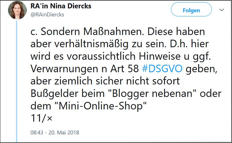 Tweet von Nina Diercks