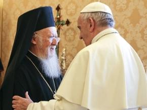 Bartholomaios I und Papst Franziskus Empfang