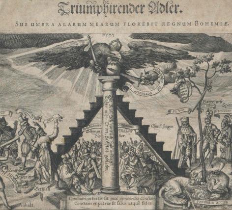 Darstellung der politischen Situation in und um Böhmen nach der Schlacht am Weißen Berg (1620).