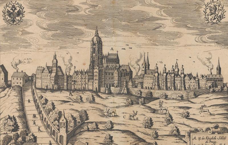 """Kupferstich von 1618: """"Wahre Contrafactur wie die Kays: Räthe zum Fenster hinauss geworffen worden seindt"""""""