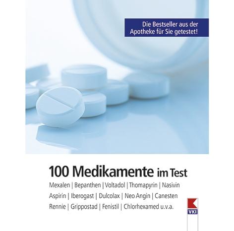 """Die Titelseite des VKI-Ratgebers """"100 Medikamente im Test"""""""
