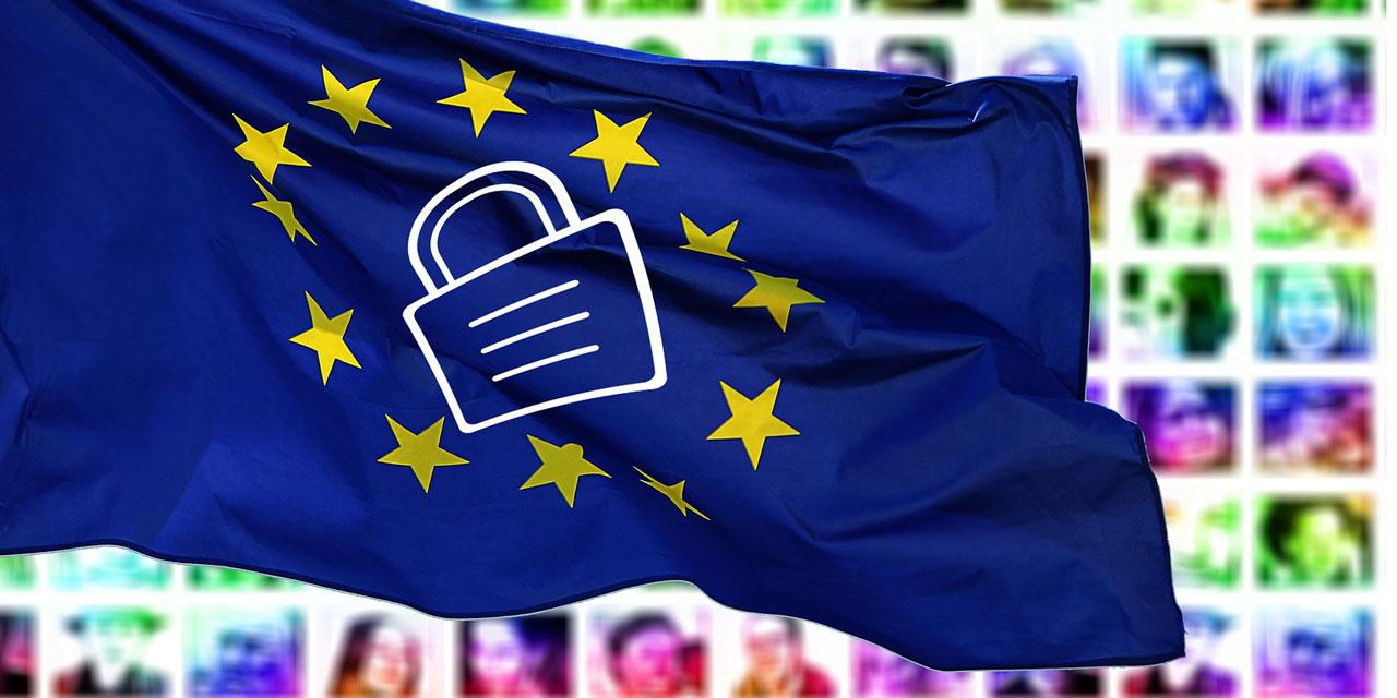 EU-Fahne mit eingeschlossenem Schloss