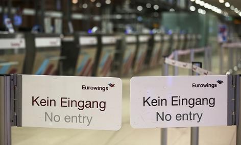 Eingang zu den Schaltern der Fluglinie Eurowings