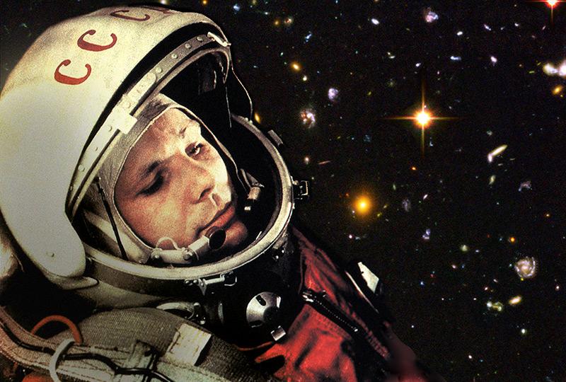Fotomontage von Juri Gagarin