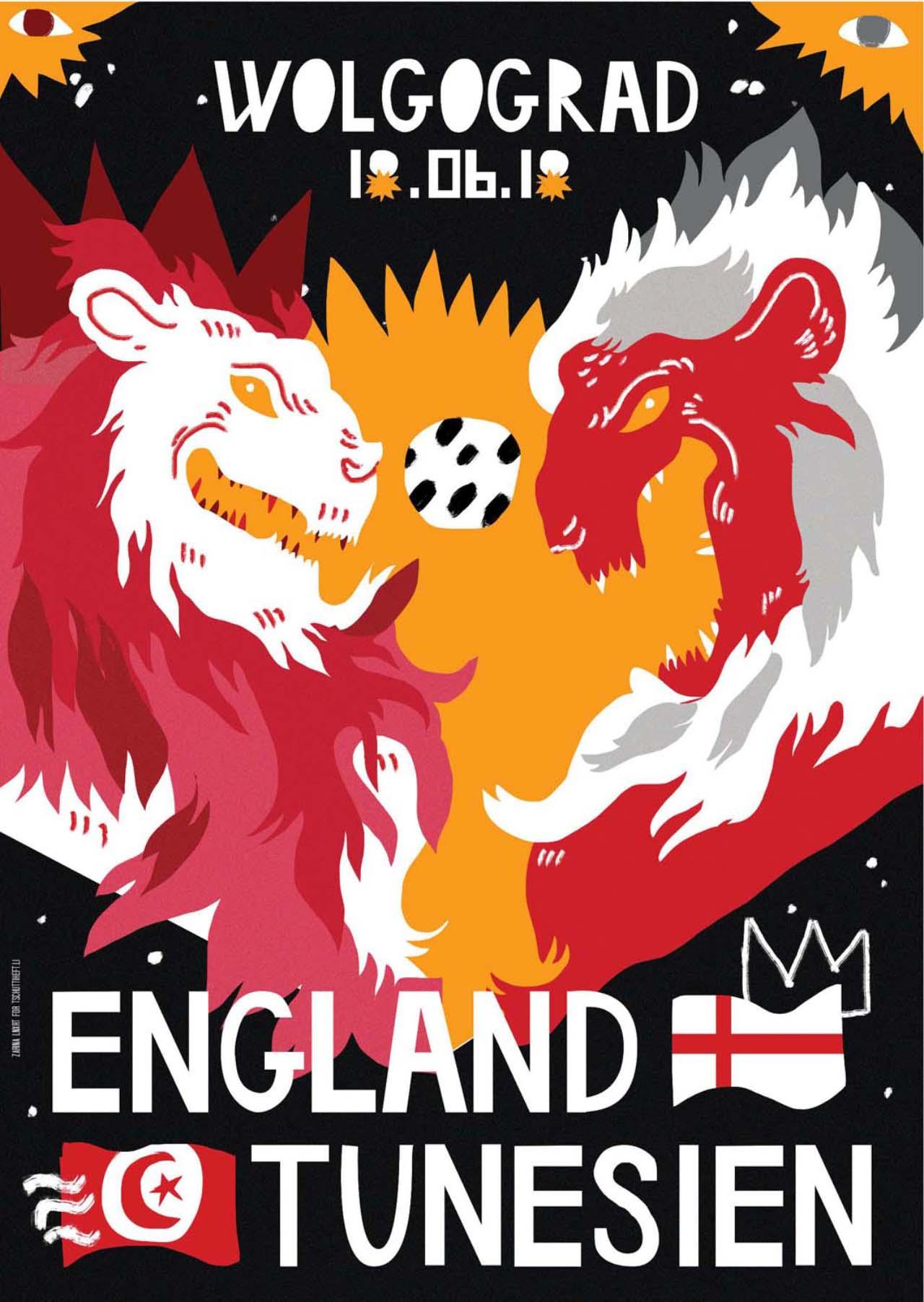 Tschutti Heftli Matchplakat England Tunesien