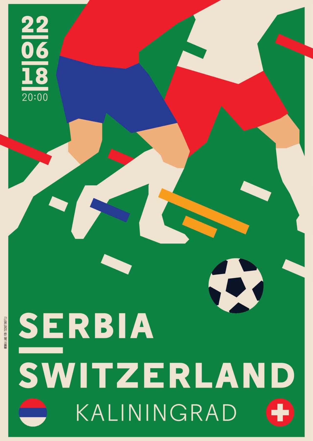 Tschutti Heftli Matchplakat Serbien Schweiz