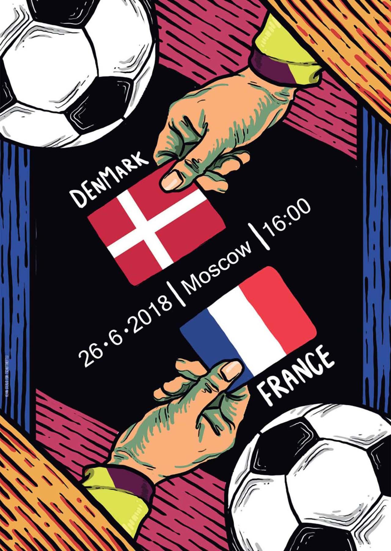 Tschutti Heftli Matchplakat Dänemark Frankreich