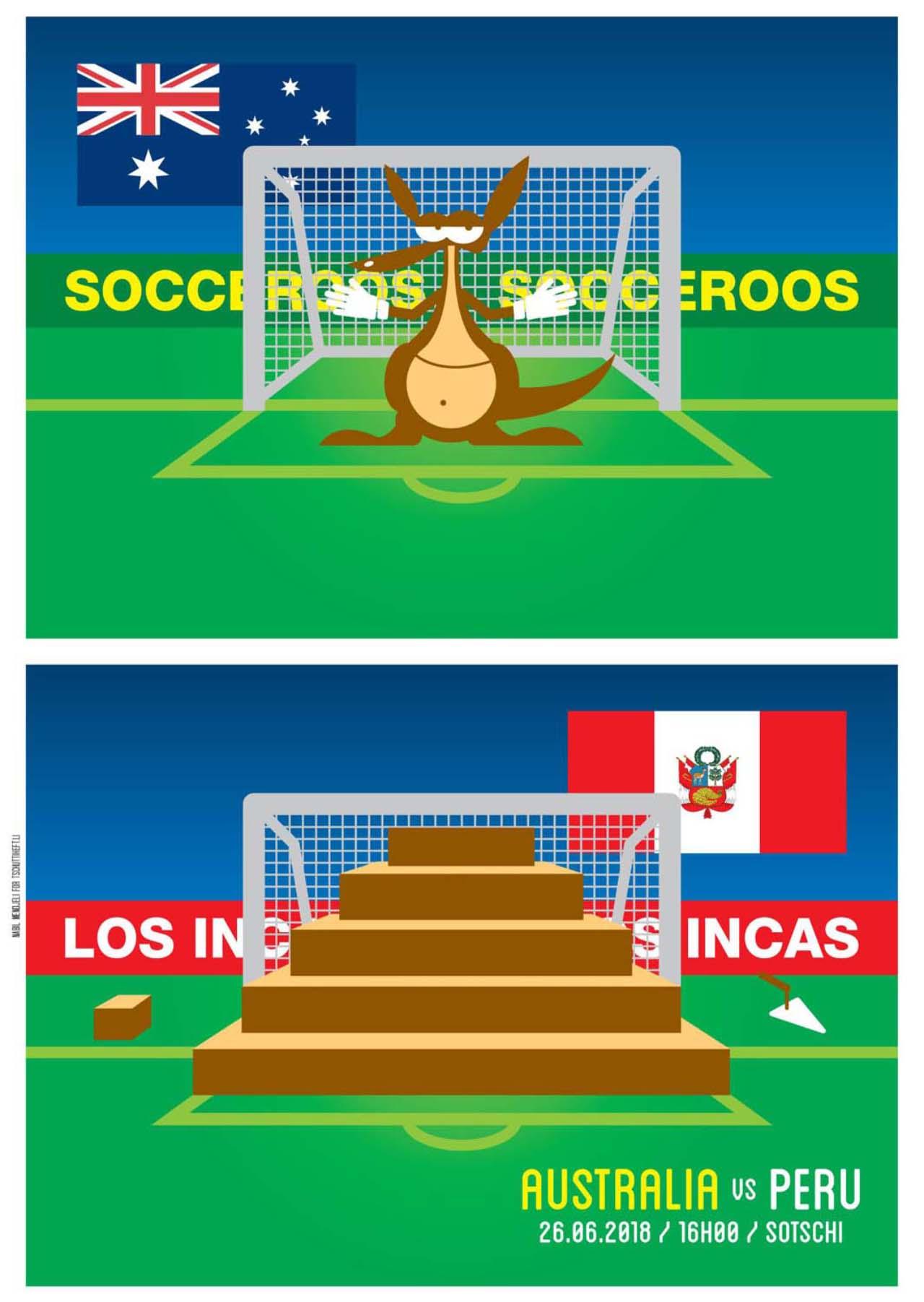 Tschutti Heftli Matchplakat Australien Peru