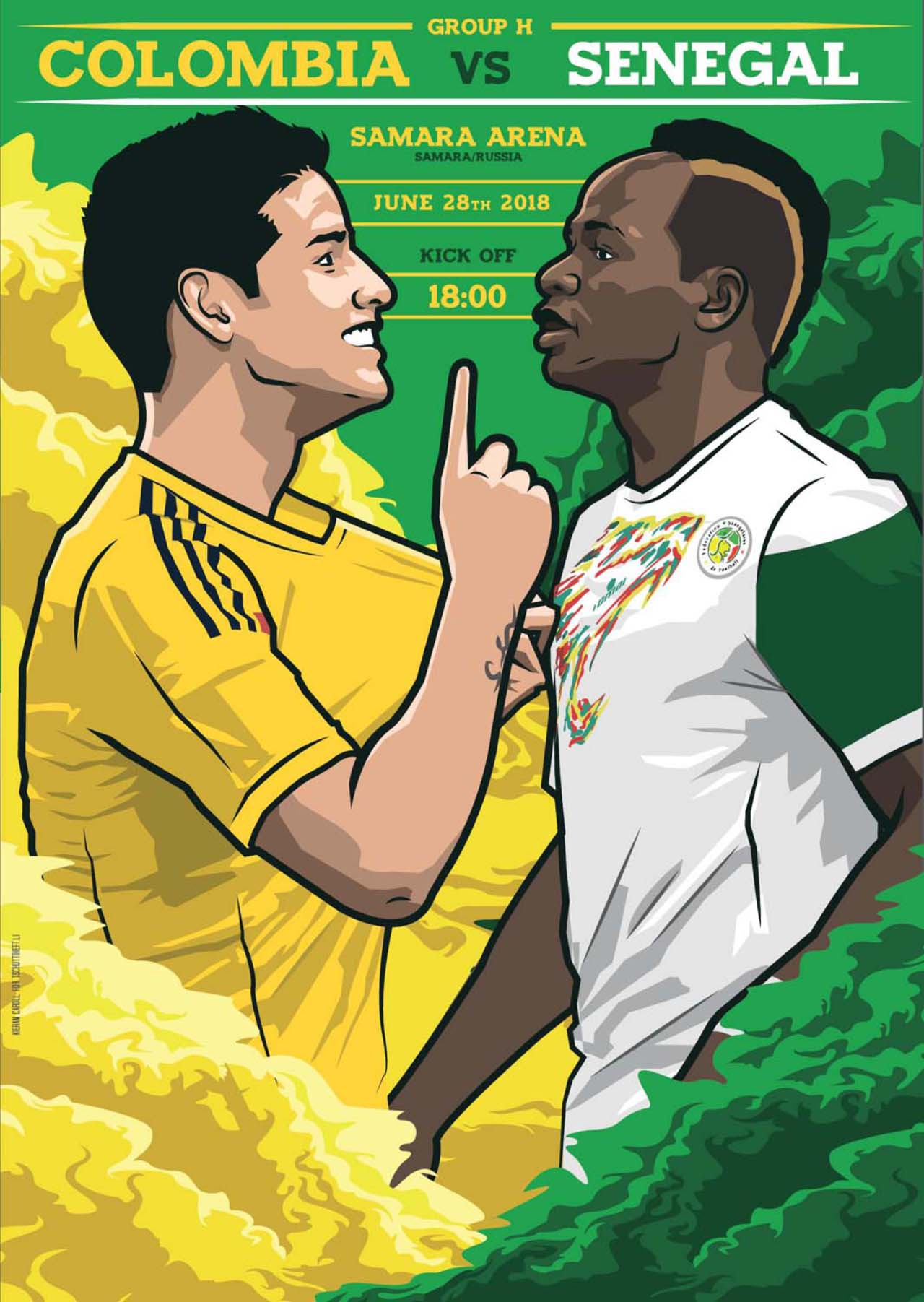 Kolumbien Senegal Matchplakat