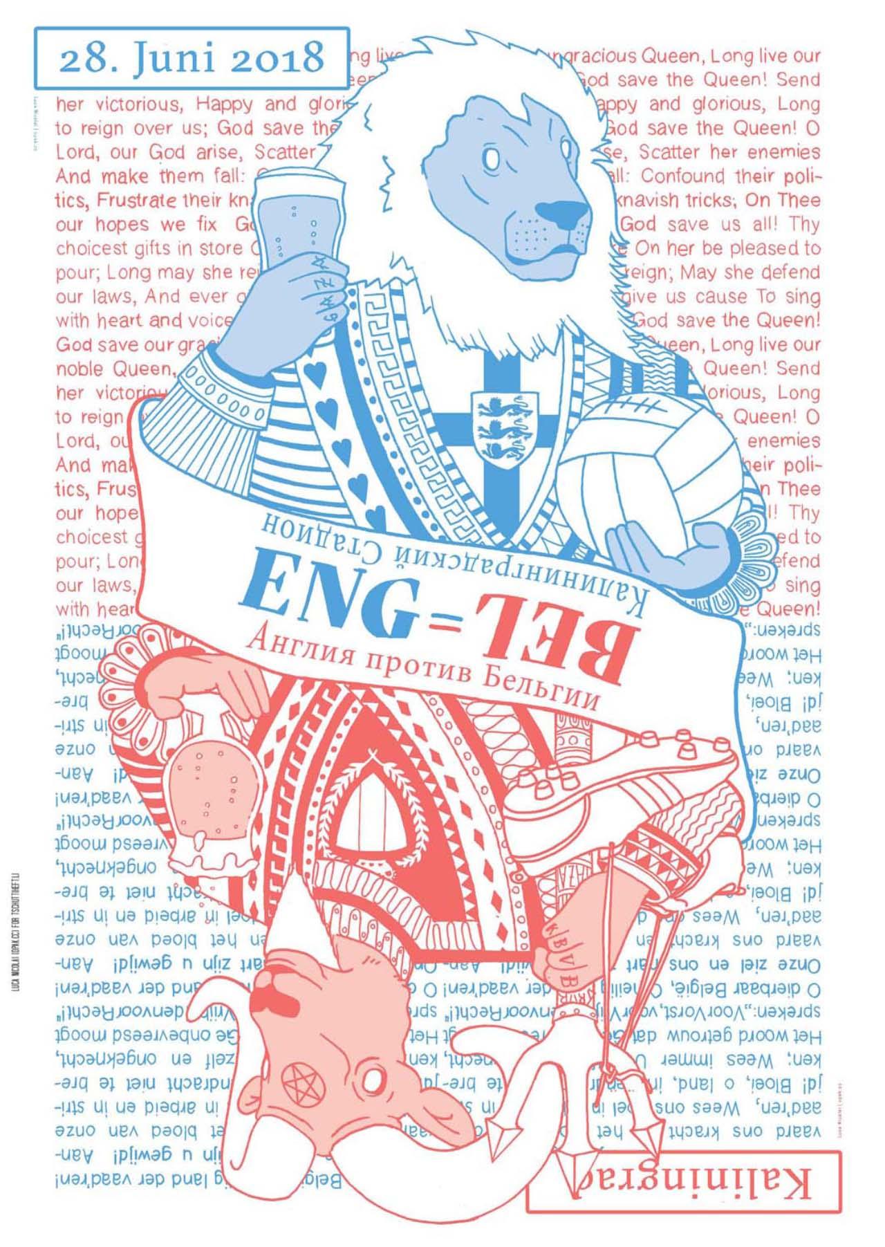 England Belgien Matchplakat