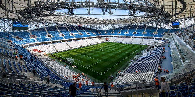 A view of the pitch and the stands of Volgograd Arena in Volgograd on May 9, 2018 The nearly 45,000- seater stadium will host four World Cup matches