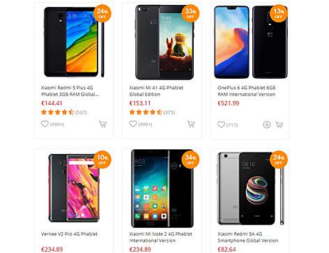 Verschiedene China-Handys im Onlineshop Gearbest