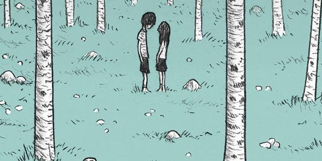 Buchcover: Comic: zwei Menschen in einem Wald