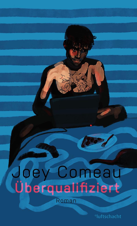 """Gemaltes Bild von einem Mann vorm Laptop, Buchcover von """"Überqualifiziert"""""""