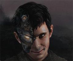 """Screenshot: Projektwebsite """"Norman"""" - ein Roboter mit den Gesichtszügen von Norman Bates"""