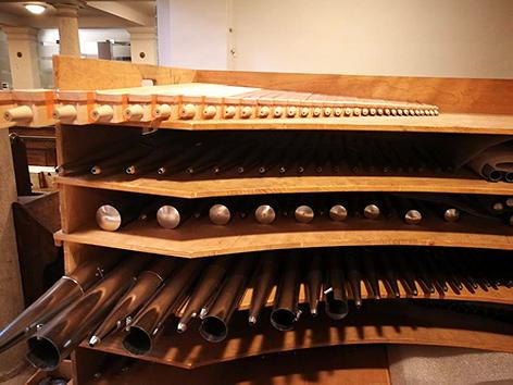 Orgelpfeifen der Lenter-Orgel in der Lutherischen Stadtkirche in Wien