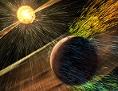 Künstlerische Darstellung: Sonnenwind trifft Planeten