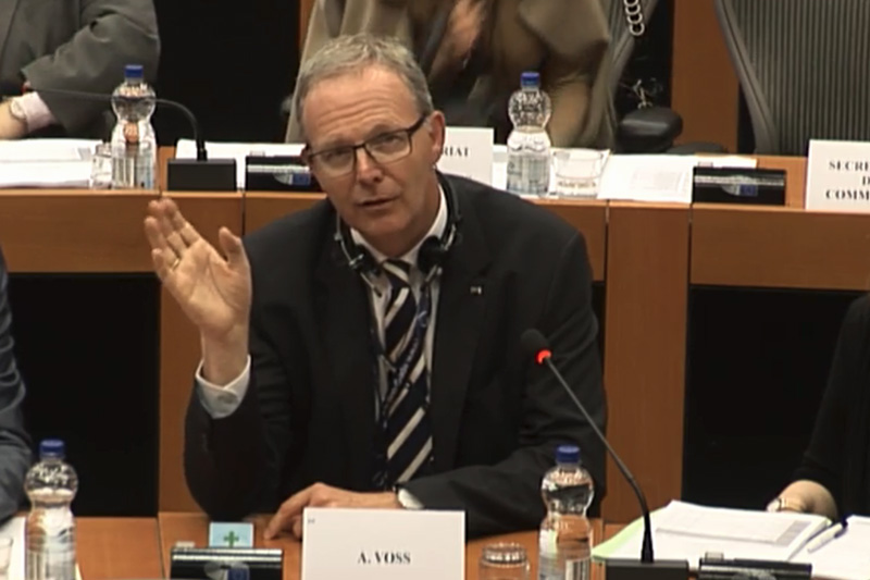 Die EU-Parlamentarier Julia Reda und Axel Voss