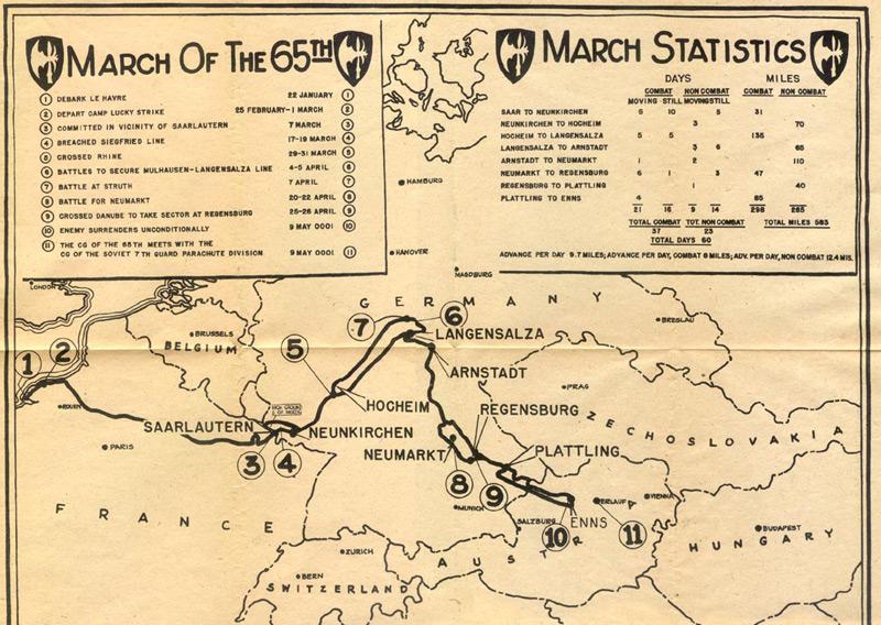 Marschroute der 65th Infantry Division der U.S. Army, der Einheit, in der Elmer Luchterhand diente