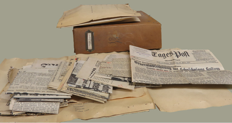"""Das """"Gaupresse""""-Archiv enthält Zeitungsausschnitte und andere Archivalien"""