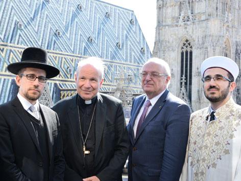 Gemeinderabbiner Schlomo Hofmeister, Kardinal Christoph Schönborn, Bischof Michael Bünker, Präsident Ibrahim Olgun