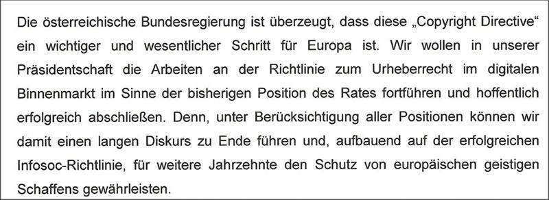 Text der österreichischen Regierung zur Copyright-Richtlinie