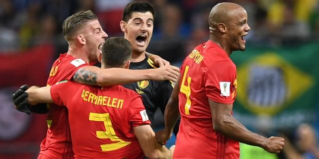 Die Fußball-Nationalmannschaft Belgiens feiert