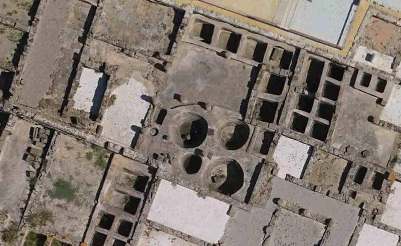 Ehemaline Römerstadt: Ruinen aus der Vogelperspektive