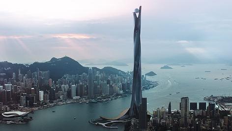 """Stadtlandschaft im Film """"Skyscraper"""""""