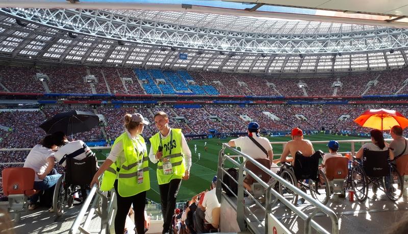 Sunny game at Moscow Stadium Luzhniki