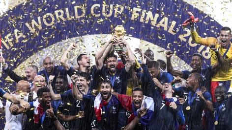 Weltmeister Frankreich beim Jubeln.