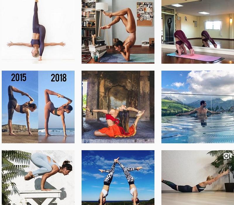 Screenshot der posts unter #yoga auf instagram