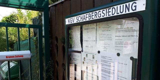 Anschlagtafel der Kleingartenverein Schafbergsiedlung